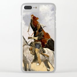 """Frederic Remington Western Art """"The Blanket Signal"""" Clear iPhone Case"""