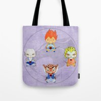 thundercats Tote Bags featuring A Boy - A Girl - Thundercats by Christophe Chiozzi