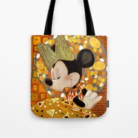 gustav klimt Tote Bags featuring Minnie Mouse - Gustav Klimt Style by Zimeta
