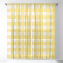 White & Yellow Gingham Pattern Sheer Curtain