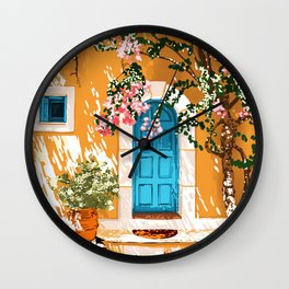 Oh The Places You Will Go, Summer Travel Spain Greece Painting, Architecture Building Bougainvillea Wall Clock