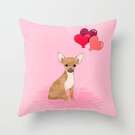 Chihuahua valentines day love hearts dog breed gifts cute chiwawa balloons pure breed Throw Pillow