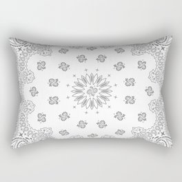 Bandana - White & Grays - Southwestern - Paisley Rectangular Pillow