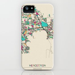 Colorful City Maps: Henderson, Nevada iPhone Case