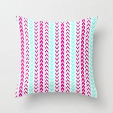 Modern Neon Pink Arrows Teal Hip Geometric Pattern Throw Pillow