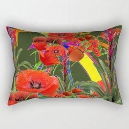 MODERN  ORIENTAL STYLE FLOWERS GREEN GARDEN DESIGN Rectangular Pillow