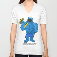 cookie monster V-neck T-shirts featuring The Cookie Monster Lifts by VeilSide07