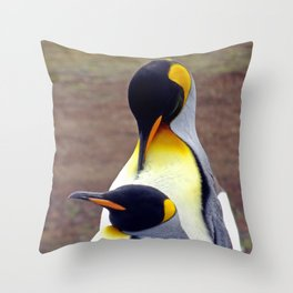 Male and Female King Penguins Throw Pillow