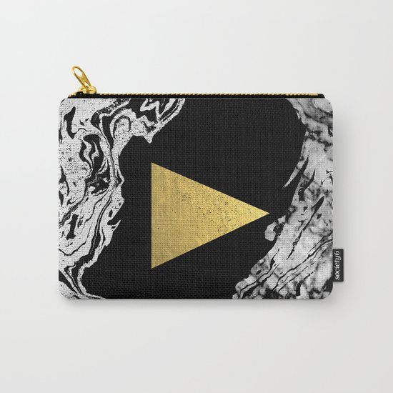 Davina - triangle modern minimal marble black and white foil gold abstract painting trendy bklyn  Carry-All Pouch