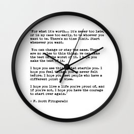 F Scott Fitzgerald quote Wall Clock