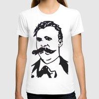 nietzsche T-shirts featuring  Friedrich Nietzsche Portrait Black and White Modern Art hand done  by The Odd Portrait