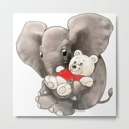 Baby Boo with Teddy Metal Print