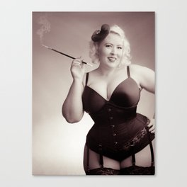 """""""Of Corset Darling"""" - The Playful Pinup - Vintage Corset Pinup Photo by Maxwell H. Johnson Canvas Print"""