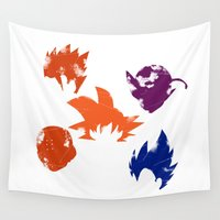 dragon ball z Wall Tapestries featuring Z Fighters by luvusagi