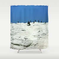 skiing Shower Curtains featuring Spring Skiing on Superstar by BACK to THE ROOTS