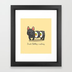French bulldog maki sushi Framed Art Print