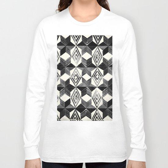 Shibori Diamond Stars Black Earth and Ivory Long Sleeve T-shirt