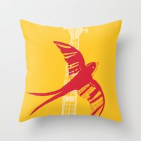 swallow Throw Pillows featuring Swallow by Cai Sepulis