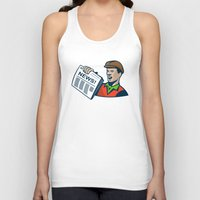 newspaper Tank Tops featuring Newsboy Newspaper Delivery Retro by retrovectors