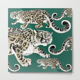 Snow leopard in green Metal Print