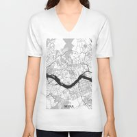 seoul V-neck T-shirts featuring Seoul Map Gray by City Art Posters