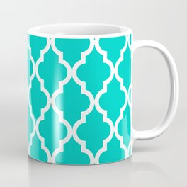 Aqua Moroccan Quatrefoil Pattern Coffee Mug