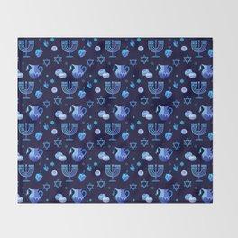 Happy Hanukkah Festival Holiday Decoration JUDAICA Throw Blanket