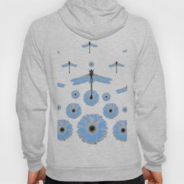 SURREAL WHITE-BLUE DRAGONFLIES FLOWERS ART Hoody