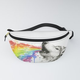 Wolf Rainbow Watercolor Animal Fanny Pack
