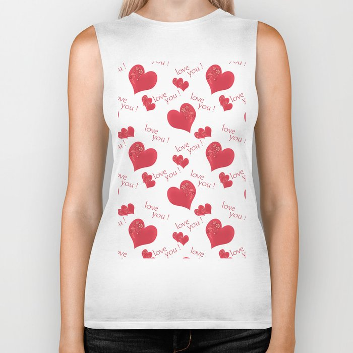 Abstract pattern with red hearts on a white background Biker Tank