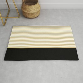 Chic Stripes, Black, White, Gold, Modern Print Art Rug