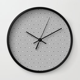 Grey and White small flower pattern Wall Clock