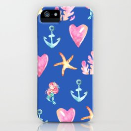 Beautiful Mermaid Theme Pattern Cute Gift for Girls Starfish Hearts Anchor Mermaid iPhone Case