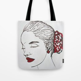 woman and red Tote Bag