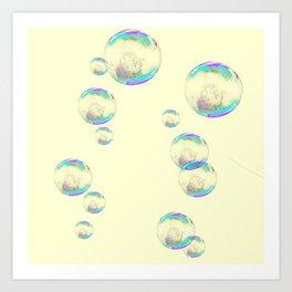 IRIDESCENT SOAP BUBBLES  ON YELLOW COLOR Art Print