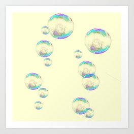 IRIDESCENT SOAP BUBBLES  ON YELLOW COLOR Art Print