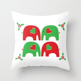 Elephant Christmas Party Throw Pillow