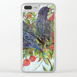 Starlings dogwood berries leaves branches Clear iPhone Case