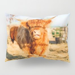Baby Highland cow watercolor painting  Pillow Sham