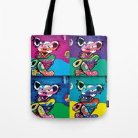 grateful dead Tote Bags featuring Grateful Dead Bears by Chelsea Kalman Art