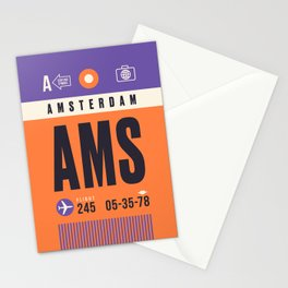 Baggage Tag A - AMS Amsterdam Schiphol Netherlands Stationery Cards