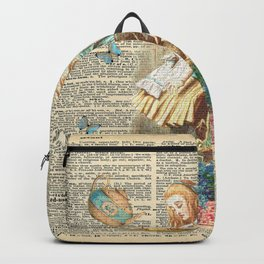 Vintage Alice In Wonderland on a Dictionary Page Backpack