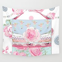 shabby chic Wall Tapestries featuring My Shabby Chic purse celebration by KarenHarveyCox