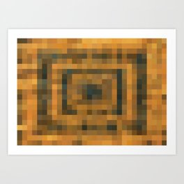 brown and black pixel abstract background Art Print