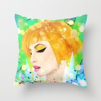 hayley williams Throw Pillows featuring Digital Painting - Hayley Williams by EmmaNixon92