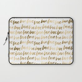 Gold Love Quote Pattern Typography Script 3 Laptop Sleeve