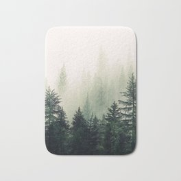 Foggy Pine Trees Bath Mat