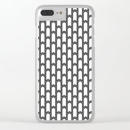 Black and white Geometric pattern with small gray arrows Clear iPhone Case