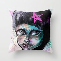 sister Throw Pillows featuring SIsTeR by SannArt
