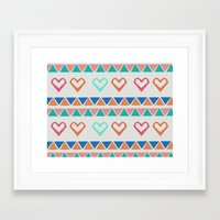 knit Framed Art Prints featuring Heart Knit  by minniemorrisart